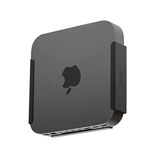 monitor for mac minis HIDEit Mounts MiniU Mac Mini Mount, Custom Mount for Mac Mini Black, Heavy Steel Mac Mini Dock, Under Desk Mount and VESA Mount