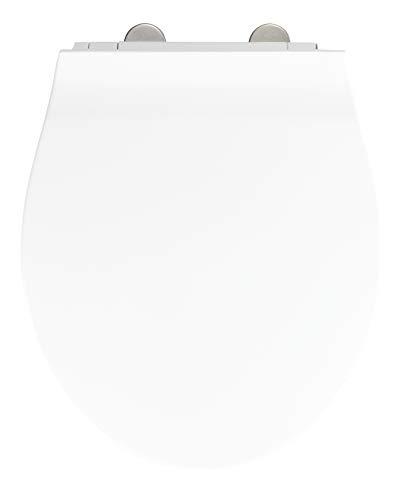 Wenko WC-Sitz Orani, flacher Toilettensitz mit Absenkautomatik, WC-Deckel mit Fix-Clip Hygiene-Befestigung, Duroplast, weiß