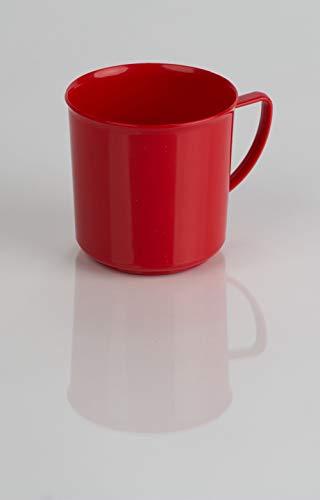 Kimmel Henkelbecher Henkeltasse Teetasse Kaffeebecher Mehrweg bruchsicher 180 ml, Kunststoff, Rot