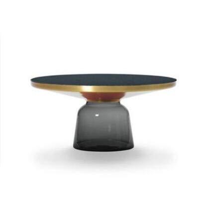 BINGFANG-W Personalidad nórdica Color Creativo de Cristal endurecido Campana Mesa de té Moderna Mesa de Esquina Redonda de Lujo Simple (Color : Grey B)