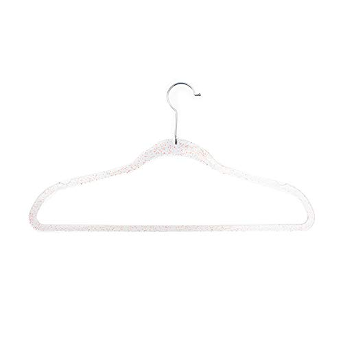 Paquete de 10 perchas de plástico en polvo de oro para ropa, percha de acrílico transparente para hombres rosa