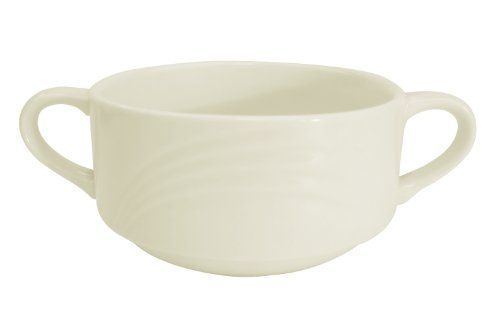 CAC China GAD-46 Garden State 6-Inch 6-Ounce Bone White Porcelain Bouillon with Handle, Box of 36