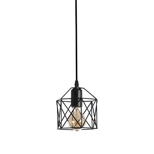 NAMFMSC Lámpara de jaula de hierro de una sola cabeza moderna y simple con lámpara colgante de arte de hierro de metal colgante Lámpara colgante de fuente de luz E27 Iluminación de techo colgante de s