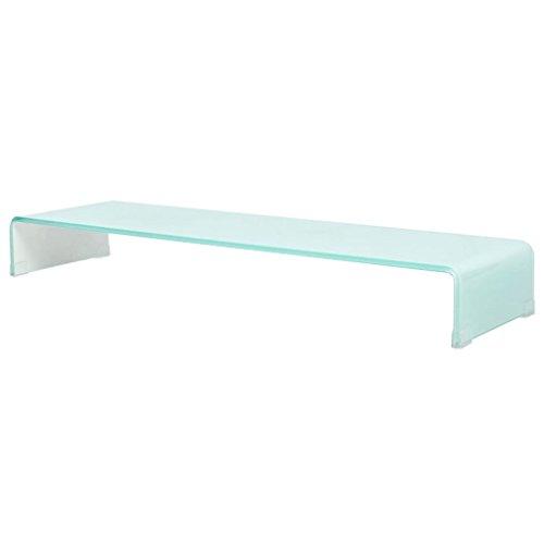 vidaXL TV-Glasaufsatz Tisch Monitor Erhöhung Glasbühne Podest Weiß 100x30x13 cm