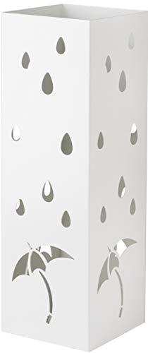 Baroni Home Portaombrelli Design Porta Ombrelli Moderno in Metallo con Intaglio Pioggia Ombrelli Bianco con Gancino e Vaschetta Scolapioggia Rimovibile 15,5X15X49 cm