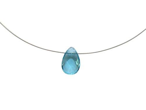 Gemshine - Damen - Halskette - 925 Silber - Aquamarin Quarz - Facettiert - Tropfen - Blau - 45 cm