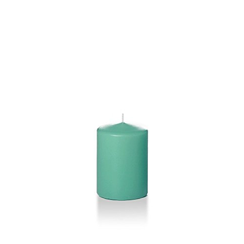 Yummi 3' x 4' Aqua Green Round Pillar Candles - 3 per Pack