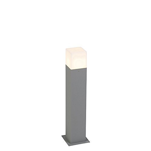 QAZQA Moderno Baliza moderna 50cm gris IP44 - DENMARK Aluminio/Plástico Cubo/Cuadrada/Rectangular/Alargada Adecuado...