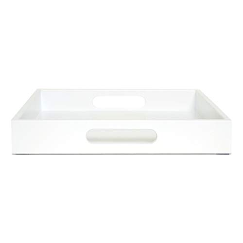 White Ottoman Coffee Table Serving Tray with Handles Medium to Extra Large Oversize