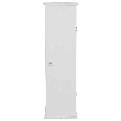 GOTOTOP 65 x 19,5 x 19,5 cm. Inodoro papel higiénico de madera, blanco, alto armario de baño con pies con amplio espacio, 2 cajones, instalable, moderno y sencillo