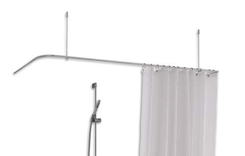 PHOS Edelstahl Design, DSU1700-700D-B70, U-Form 70x170x70 cm Duschvorhangstange, Deckenträger einkürzbar, Edelstahl matt, Bad Duschenstange, Dachschräge mögl, Duschhalterung, Brausenstange, Badewanne