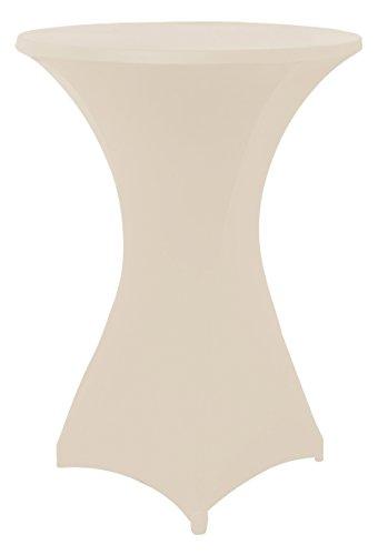 Stretchhussen für Stehtische und Bistrotische in beige, Überwurfhusse für einen Tischdurchmesser von 60 - 65 cm, Stehtischhussen, Outdoor-Tischdecken by Floyen Home