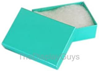"""TheDisplayGuys 100-Pack #11 Cotton Filled Cardboard Paper Jewelry Box Gift Case - Teal Green (2 1/8"""" x 1 6/8"""" x 3/4"""")"""