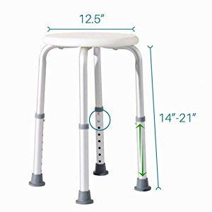 Healthline Trading Round Stool Bath Bench Adjustable Height, Lightweight Compact and Small Chair for Shower, with Non-Slip Seat, White