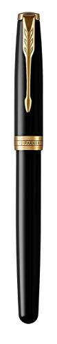 PARKER Sonnet penna stilografica, laccatura di colore nero con finiture in oro, pennino medio 18 K - Confezione regalo, black lacquer - gold trim