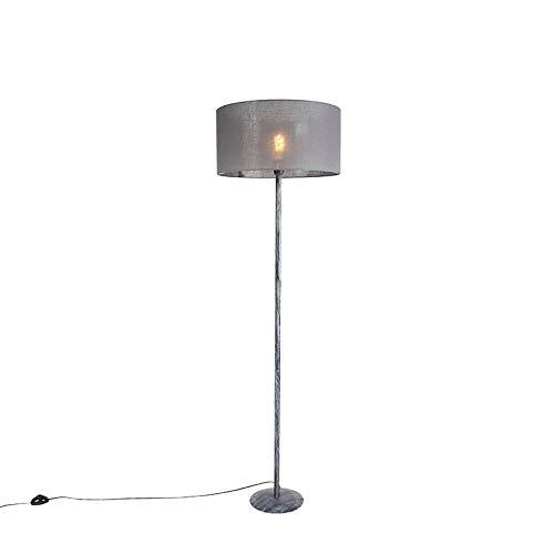 QAZQA rústico Lámpara de pie gris envejecido pantalla gris oscuro 50cm - SIMPLO Plástico/Acero Alargada Adecuado para LED Max. 1 x 60 Watt