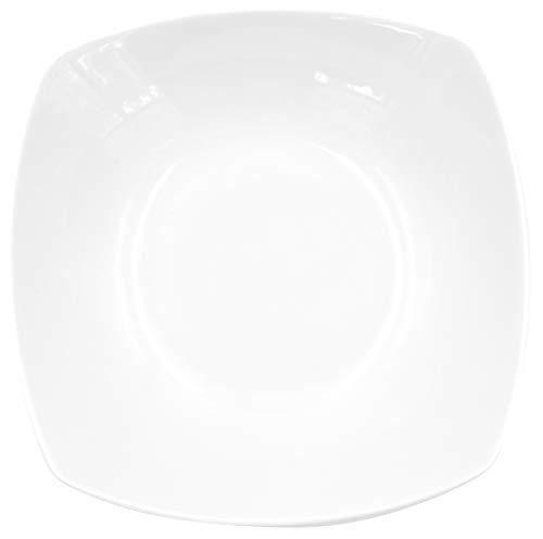 Lot de 6 assiettes creuses carrées - En porcelaine véritable - 190 x 190 mm - Blanc - Idéales pour peindre - Vaisselle de table pour la restauration et la maison