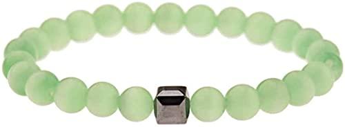 Pulsera de la riqueza Feng Shui Pulsera de piedra Mujer, 7 chakra 8mm Natural Green Crystal Stone Tibetano Mala Beads Elástico Brazalete Charm Joyería Rezar Yoga Energía ilimitada Reiki Regalo para pa