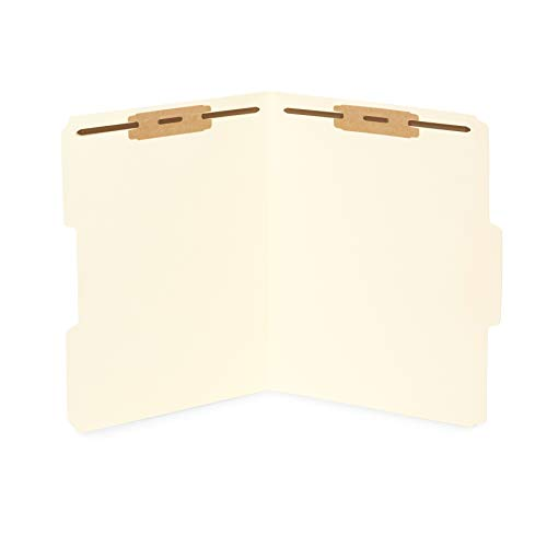 50 Manila Fastener File Folders - 1/3 Cut Reinforced Tab - Durable 2 Prongs Bonded Fastener Designed to Organize Standard Medical Files, Law Client Files, Office Reports - Letter Size, Manila, 50 Pack