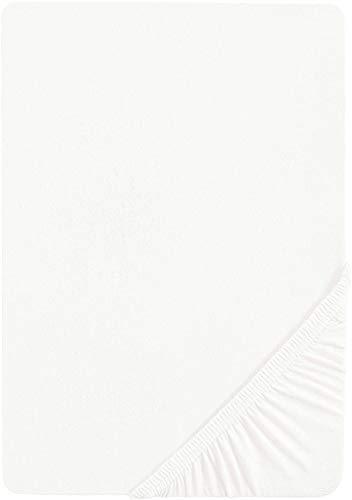 biberna 0077144 Feinjersey Spannbetttuch (Matratzenhöhe max. 22 cm) (Baumwolle) 90x190 cm -> 100x200 cm, weiß