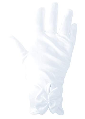 familientrends Mädchen Handschuhe elegant kurz Satin Kommunion Hochzeit Tanz super Passform weiß (M)