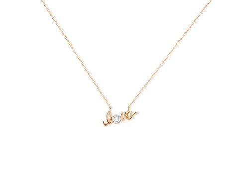 NICOLS 29210220x40 - Collar Oro Rosa (18kt) con Palabra Love y Diamantes