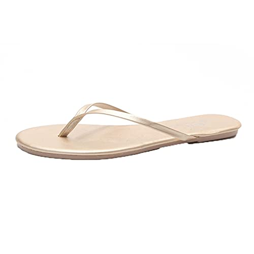 Zapatillas sin cordones para mujer, correa en T simple, ocio, vacaciones, impermeable, color sólido, antideslizante, chanclas para la playa y el baño