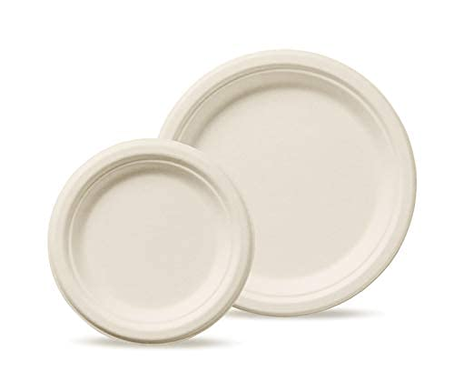 Humble Green Compostable Plate Set- 200 Pieces of Biodegradable and Renewable Plates. Made From Renewable Sources.