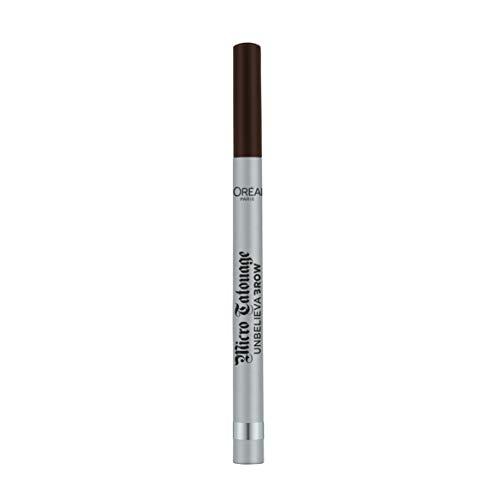L'Oréal Paris Unbelieva Brow Micro Tatouage 109 Ebony, wischfester Filzstift mit Dreizack-Spitze, bis zu 24H Halt, Microblading-Effekt