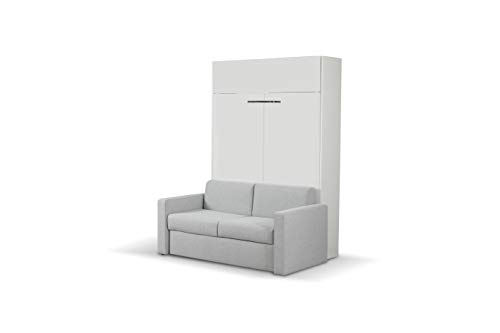 Fantastic Prices! ALADINO Wall Bed with Sofa White-White Gloss (European Queen Size Wall Bed with Sofa)
