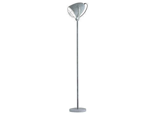 Retro LED Stehleuchte INDUSTRIEDESIGN 1 flammig Metallschirm schwenkbar mit Gitter in Betonoptik, Höhe 150cm