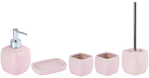 MSV Badezimmer Set, 5-teiliges Badzubehör aus Keramik Louise, Seifenspender, WC Bürste, Seifenschale und Zahnputzbecher Pastell Rosa
