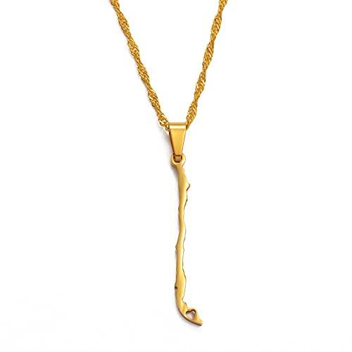 Collares Collares con colgante de mapa de Chile, encanto de color dorado, joyería de la República de Chile, regalos chilenos, cadena fina de 60 cm