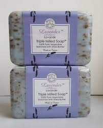 Trader Joe's Lavender with Flowers Lavande Tripple Milled Soap 100% Pure Vegetable Oil with Shea Butter (Case of 2)