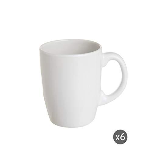 Excelsa Trendy White Set 6 Tazze Mug, Ceramica, Bianco