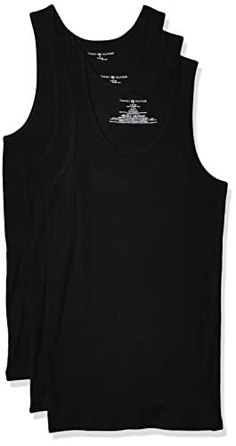 Tommy Hilfiger Men's Undershirts 3 Pack Cotton Classics A Shirts, Black, X Large