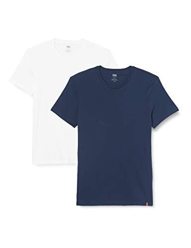 Levi's 2Pk Crewneck 1 Camiseta, 2 Pack Slim Crew Dress Blues/White, XXL (Pack de 2) para Hombre