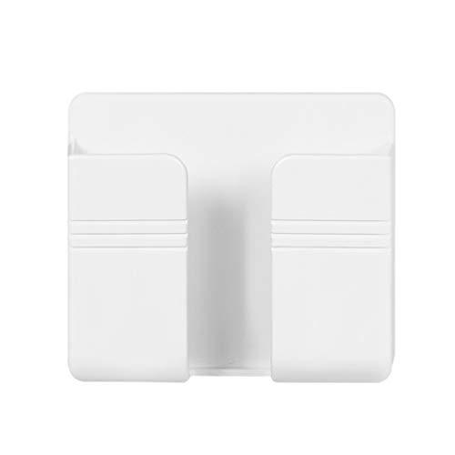 rongweiwang Titular del Cargador de teléfono Montado en la Pared Control Remoto Almacenamiento Remoto Control Remoto Caja de plástico Colgante del Cargador Soporte, Blanco