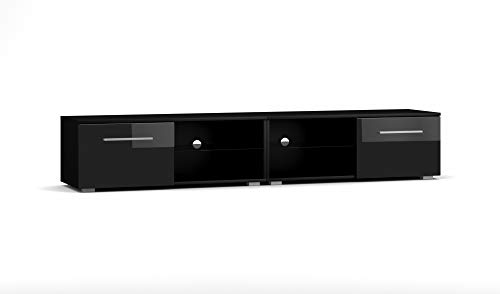 Vivaldi Mobile Porta TV Moon 2 Double | 36 x 200 x 40 cm | Armadietto TV con Pannelli Laminati | Mobile Basso per TV con 2 scaffali di Vetro | Ideale per Salotto | Nero Opaco e Nero Lucido