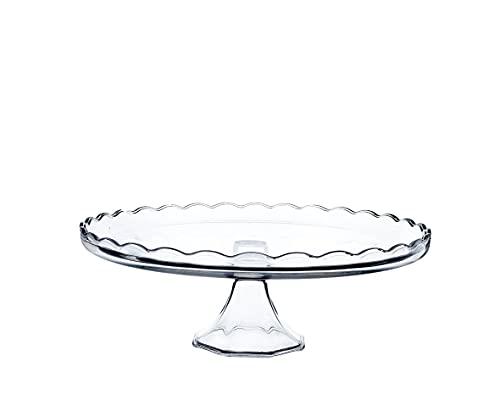 KADAX Kuchenständer aus Glas, Tortenständer mit Fuß, runde Tortenplatte für Muffin, Kekse, Desserts, Geburtstag, Party, flach Ständer für Hochzeit, transparenter Kuchenteller (Rund)
