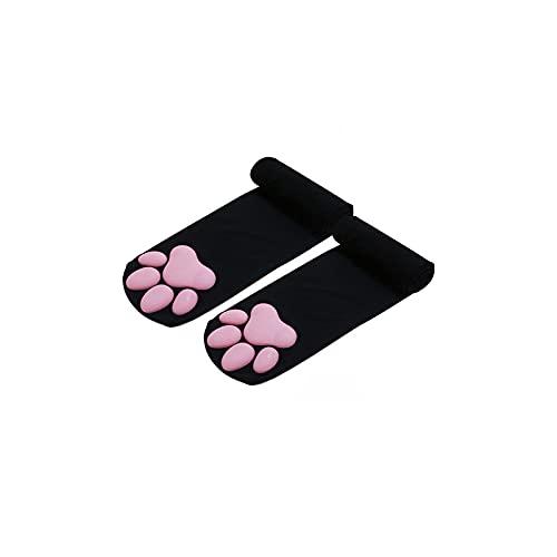 Thigh High Storage Cute Cat Paw Pad Girl Socks 3D Kitten Paw Lolita Cosplay, Black, One Size