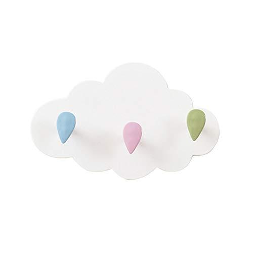 Colgadores para colgar, ganchos de utilidad, diseño de nubes de dibujos animados, color blanco