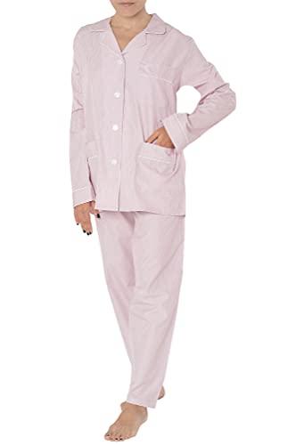 El Búho Nocturno - Pijama Mujer Largo Solapa Popelín Rayas Rosa Talla 1 (XS) Estampado Dobby 100% algodón