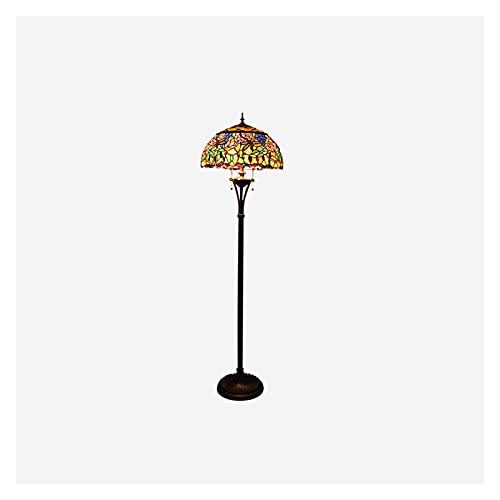 Lámpara de Pie Lámpara de pie vintage, lámpara de pie con pantalla de cristal, lámpara de polo alto para la oficina de la cocina de la sala de estar del dormitorio, interruptor de encendido/apagado