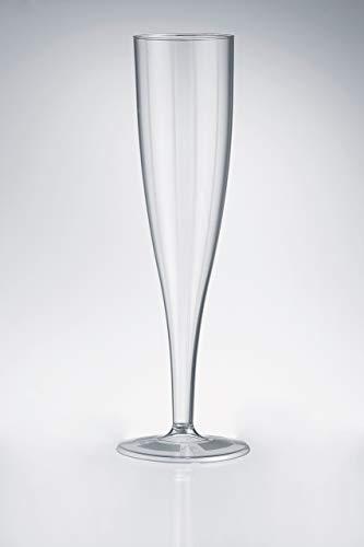 50 x High quality one piece plastic champagne flute/glass - 160 ml (6oz.)