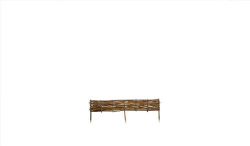 MEIN GARTEN VERSAND Rasen- und Beetbegrenzung im Maß 120 x 20 cm (Breite x Höhe) aus Haselnuss Holz und geflochtenen Hasenuß Ruten