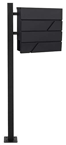 V2Aox staande brievenbus brievenbus zwart staal krantenrol vrijstaand, selectie: 1 voet - hoekig. MB02