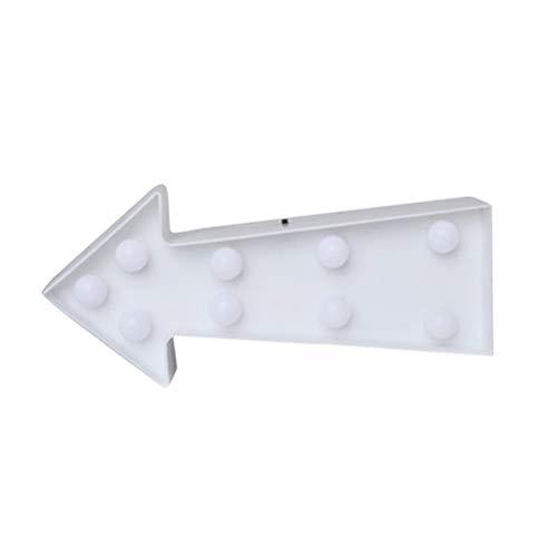 Uonlytech - Señal de Flecha con luz LED en 3D, de plástico, con Forma de Flecha, para decoración de Pared, Color Blanco