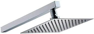 ZESTA Ultra Slim Stainless Steel 6x6 Ultra Slim Rain Head with 12-inch Arm (Silver)