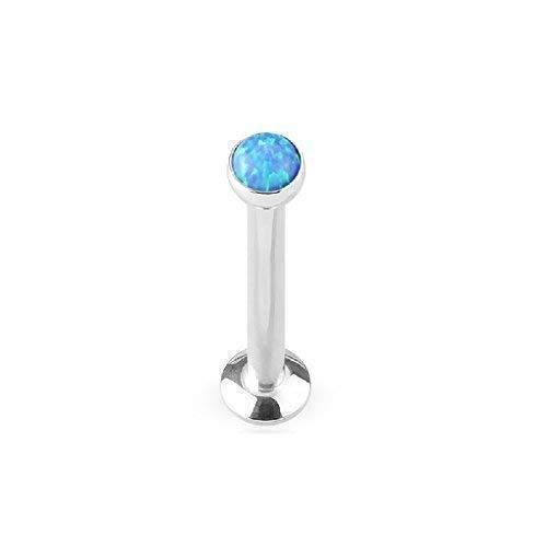 Tapsi´s Coolbodyart®| Piercing Labret, Monroe, Cartilage Stecker Edelstahl Chirurgenstahl 316L 4mm Glitter Opal Blau
